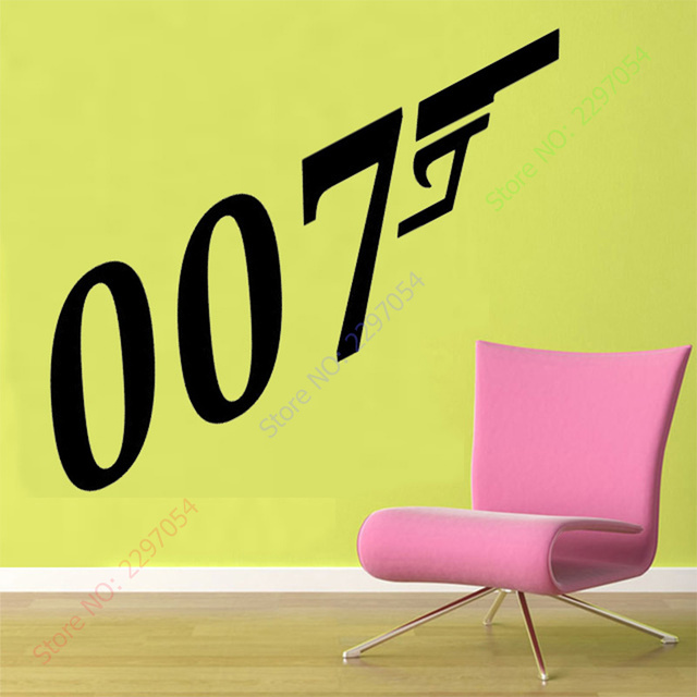 50x100cm JAMES BOND 007 silhouette Decal Removable Logo WALL STICKER ...