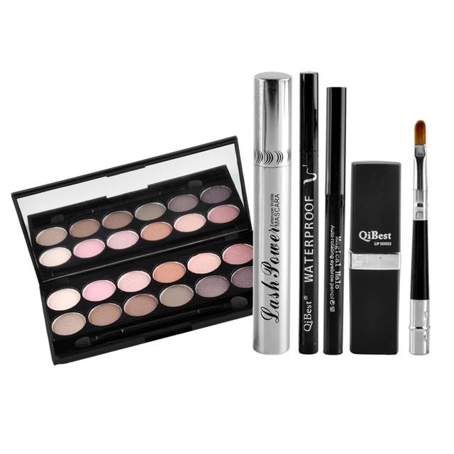 Qibest 6 unids Maquillaje Delineador de Labios Delineador Líquido + + Ceja lápiz + Crema del Rimel + 12 Colores de Sombra de Ojos Del Labio del Ojo cosméticos