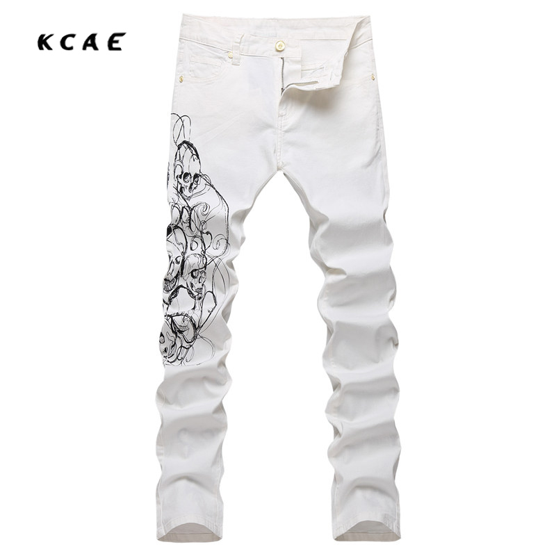 2017 Brand Fashion Designer Jeans Men Straight Slim White Color Printed Mens Jeans Denim Pencil Pants Slim Fit Cotton Trousers new men slim straight locomotive jeans denim jeans cowboy fashion business designer famous brand men s jeans trousers pant 29 36