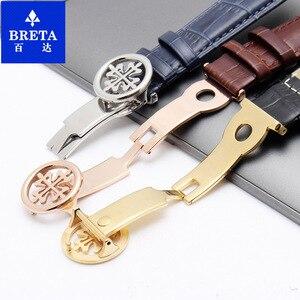 Image 4 - Ремешок кожаный HUXIE подходит для наручных часов patek Philips, ремешок из коровьей кожи, цепочка для часов, розовое золото, складывающаяся Кнопка 19 20 22 мм