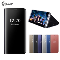 Asuwish Flip Cover Leather Case For Samsung Galaxy A3 2017 A5 2017 A7 2017 A320F A520F