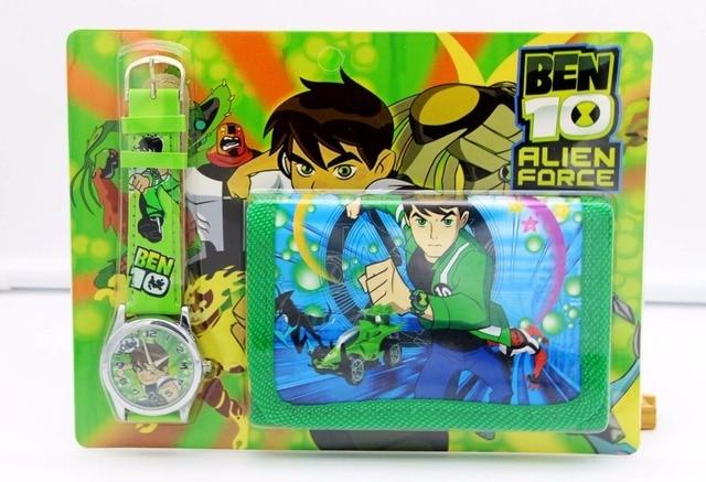 BEN 10 kids Sets watch and wallet purse wrist quartz Christmas Children gift Car
