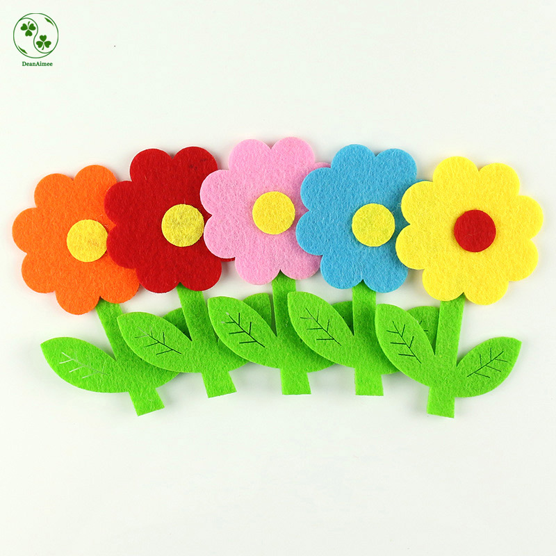 High Quality 5pcs/lot Large Felt Flowers Patch Non-Woven Three-layer Flower Appliques Ki ...