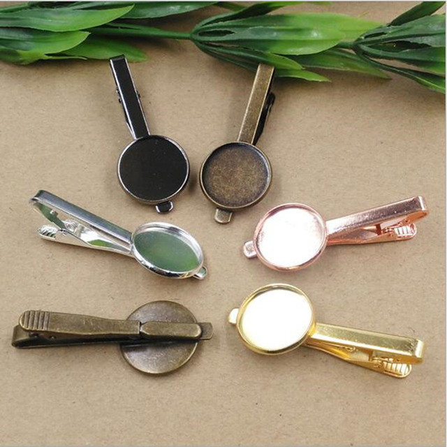 Tie Clips Fit 16mm 18mm 20mm Round Cabochon Copper Necktie Bar Mens Clamp Clip Blank Base