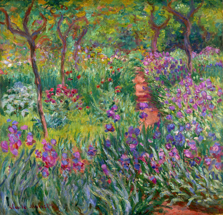 Scenery framesless canvas painting masterpiece reproduction Claude Monet The Iris Garden at Giverny, 1899-1900 v2