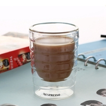 6pcs/lot Caneca Hand Blown Double Wall Whey Protein Canecas Nespresso Coffee Mug Espresso Coffee Cup Thermal Glass 150ml