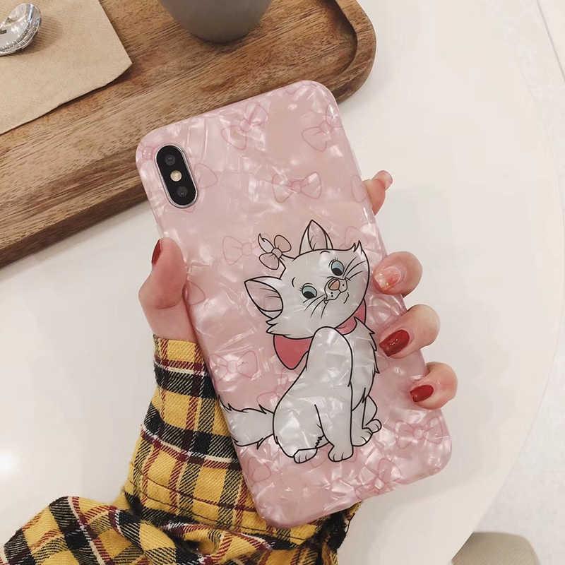 Nowe letnie muszelki śliczne różowe Marie Cat miękkiego silikonu etui na telefony dla iphone 6s 6plus7 plus 8 8plus X XR XS MAX etui z brokatem coque