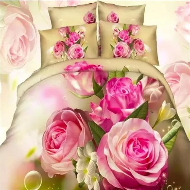 Pink Flowers Rose Print 3d Bedding Set Queen Size King Size 100% Cotton Fabric  Bed