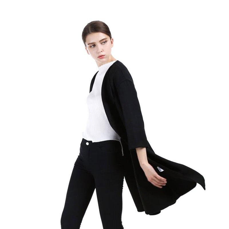 Vintage Qadın Qara Uzun Cashmere Palto 2017 Yeni Yun Palto Qadın - Qadın geyimi - Fotoqrafiya 5
