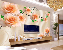 beibehang Fashionable silk fabric high quality wallpaper rose green leaf TV background wall papel de parede 3d tapety