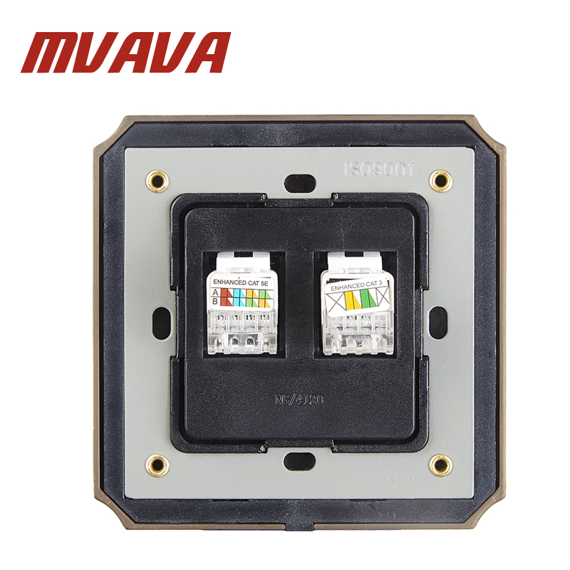 MVAVA Electric Universal Network Ethernet LAN RJ45 TEL RJ11 Socket Wall Mount Coaxial Outlet Luxury Decorative Bronzed Panel in Electrical Sockets from Home Improvement