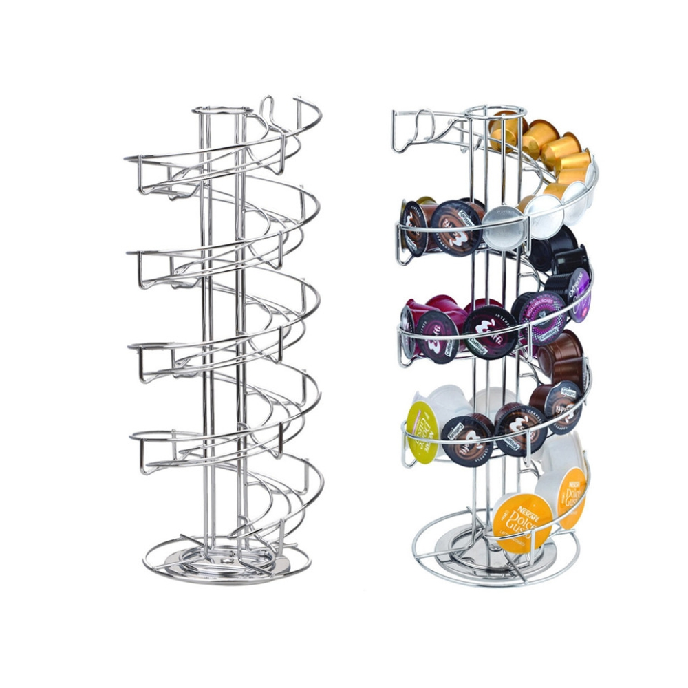 1PC Revolving Rotating Coffee Pod Holder Rack Coffee Capsule Stand Tower Storage Up to 30 PCS