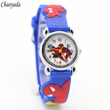 10pcs Hot sale Watch New Fashion Spiderman Child Watch Silicon Cartoon Kids Sport Watch Boys quartz watch Relojes 3D Watch Relog