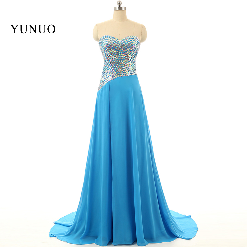 Noble Wedding dress shop vestido de festa Party Gown Blue Evening Dress Long Crystals A-Line Chiffion Robe de soiree Custom Make Real Dress x10171