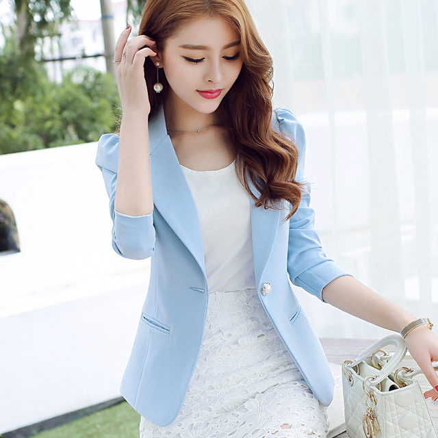 Kobeinc Solid Ladies Blazers New Summer Korean Style Slim Fit Blaser Feminino Plus Size S-XXL Single Button Women Blazers