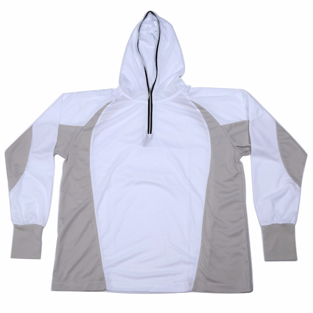 New Sun <font><b>UV</b></font> Protection Hooded Clothes Outdoor Fishing Cycling <font><b>Clothing</b></font>, White Color