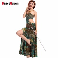 2017 New Belly Dance Dresses Set Peacock Green Bollywood Dance Costumes 1 Pcs Dress Long Gypsy Skirts Danza Del Vientre DQ1049