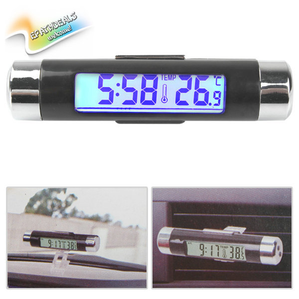 2pcs! Fashionable Two Way LCD Digital Auto Car Clock Thermometer Car Temperature Gauge Meter with Blue Backlight Clip