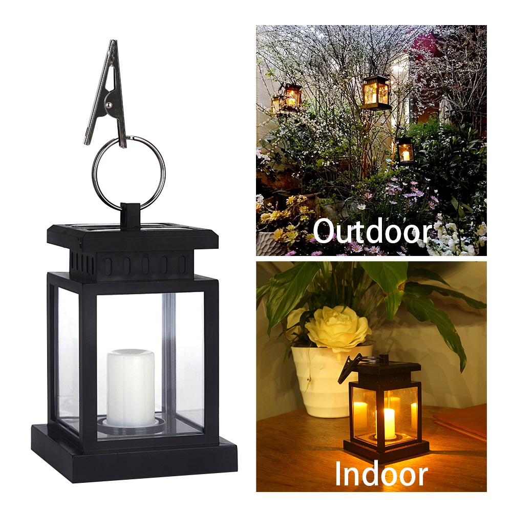 Waterproof LED Solar Garden Light Flickering Flameless Candle Outdoor Lighting Hanging Smokeless Solar Lantern for Camping sylvan tall candle lantern