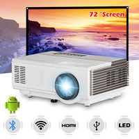 Mini Bluetooth Android WiFi LED Projector Home Theater Beamer HD Video Movie Game Projection with 72 inch Projection Screen