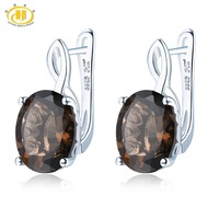 Hutang Smoky Quartz Clip Earrings Natural Gemstone Solid 925 Sterling Silver Fine Fashion Stone Jewelry For Women Gifts Gift New
