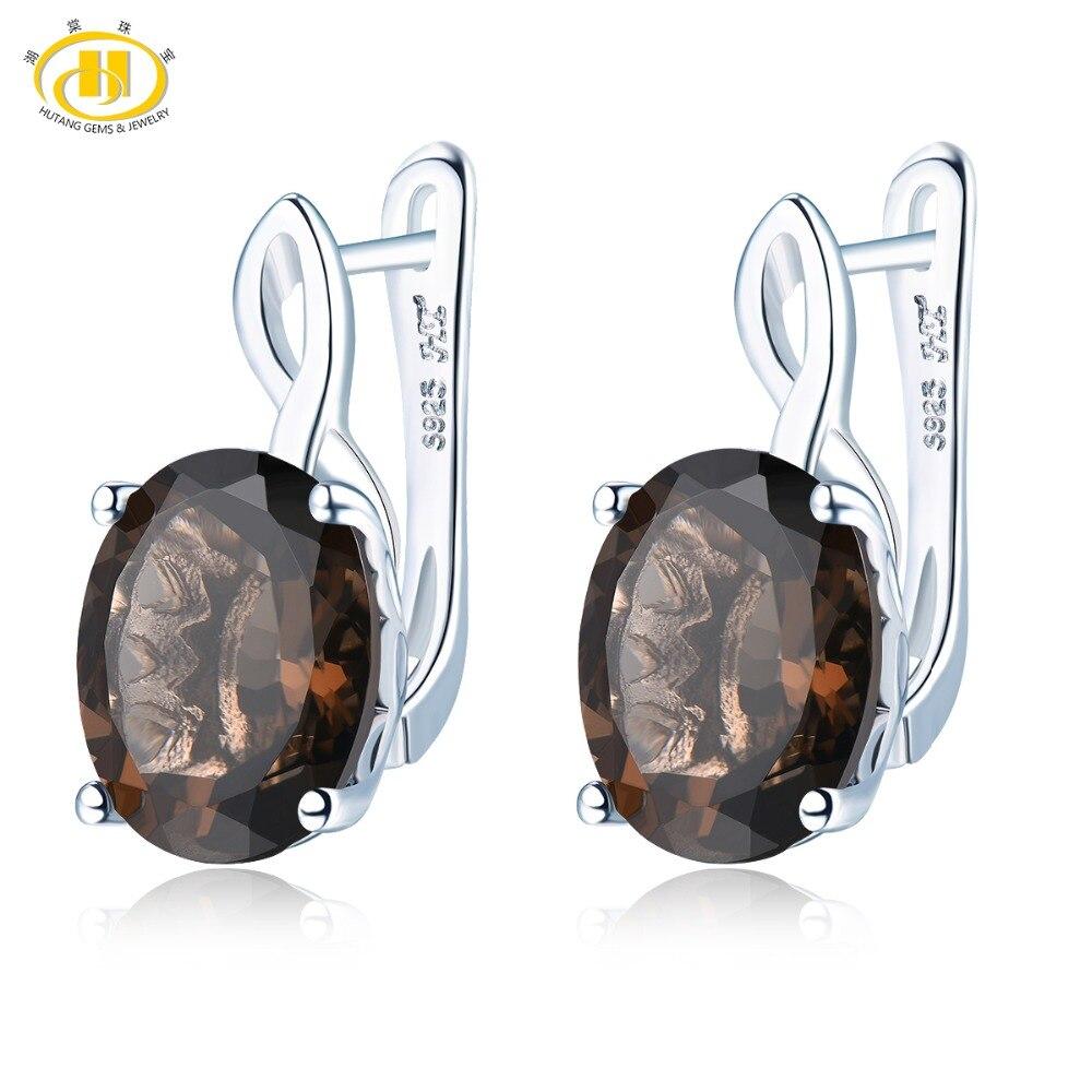 Hutang Smoky Quartz Clip boucles d'oreilles pierres précieuses naturelles solide 925 en argent Sterling Fine mode pierre bijoux pour femmes cadeaux cadeau nouveau