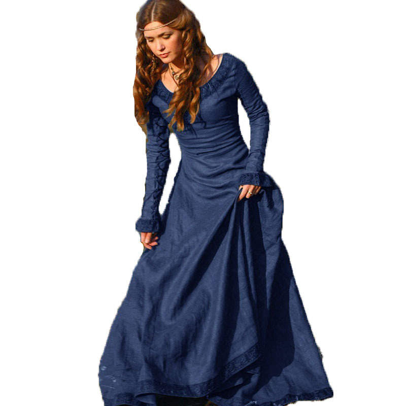 Women's Sexy Long Sleeve Vintage Medieval Dress Princess Renaissance Gothic Dresses Ladies Halloween Cosplay Costume