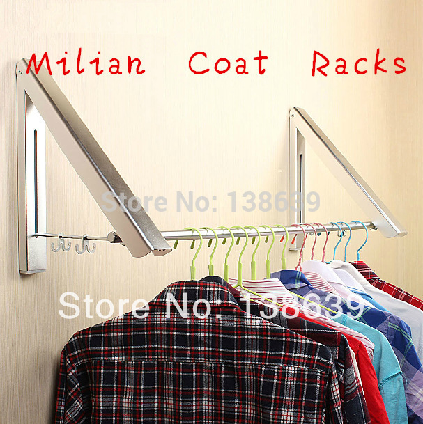 Free Shipping Home Furniture fashion wall hanger folding drying rack Living Room Coat Rack Hidden Multifunctional Clothes Hanger