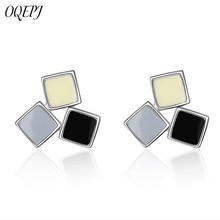 OQEPJ New Fashion Simple Three Color Enamel Square Earrings 925 Sterling Silver Jewelry For Women Girl Party Personalized Gift
