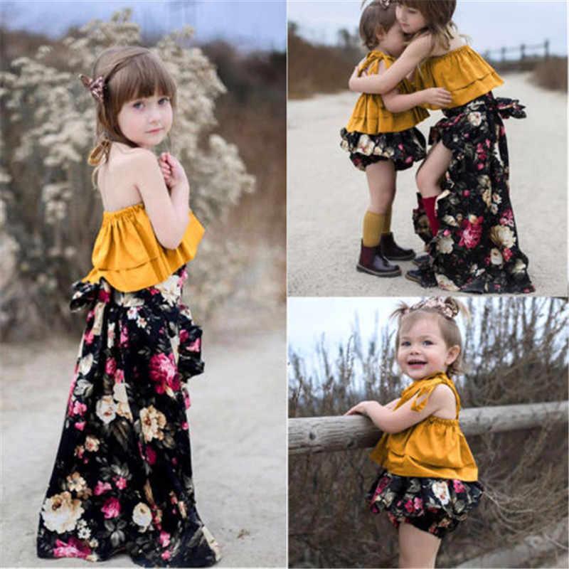 Одинаковые детские топы без рукавов с лямкой на шее для девочек, штаны, юбка, одежда Летний костюм для маленьких девочек