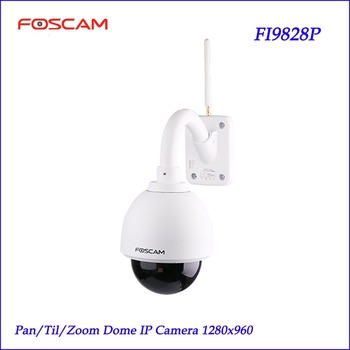 Foscam FI9828P Wireless Outdoor PTZ IP Dome Camera 3x Zoom 960P 70 degree View 60-Sec Setup Security Monitoring IP Camera kettle