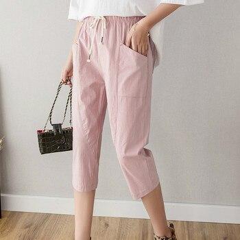 371fb59bc583 Хлопковые льняные женские брюки длиной до икры, новые летние повседневные  штаны с ...