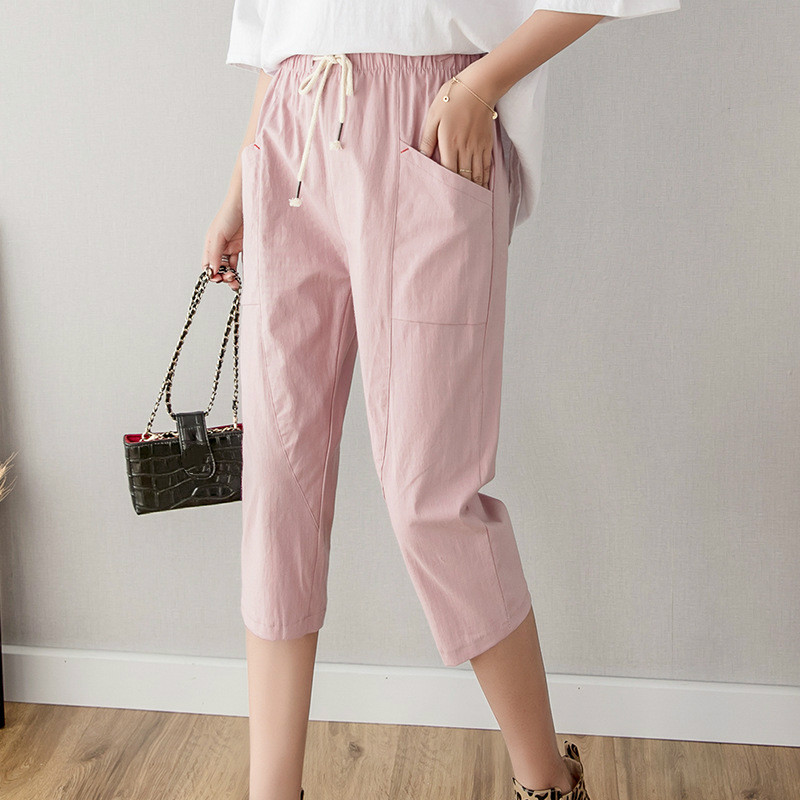 Cotton Linen Calf-Length Women's Pants New Summer High Waist Casual Pants Women Bandwidth Pocket Loose Leisure Pants Wholesale