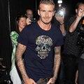2016 quente de Verão novidade David Beckham moda casual T shirt do crânio dos homens da marca maré curto-de mangas compridas menino algodão masculino T-shirt T-shirt