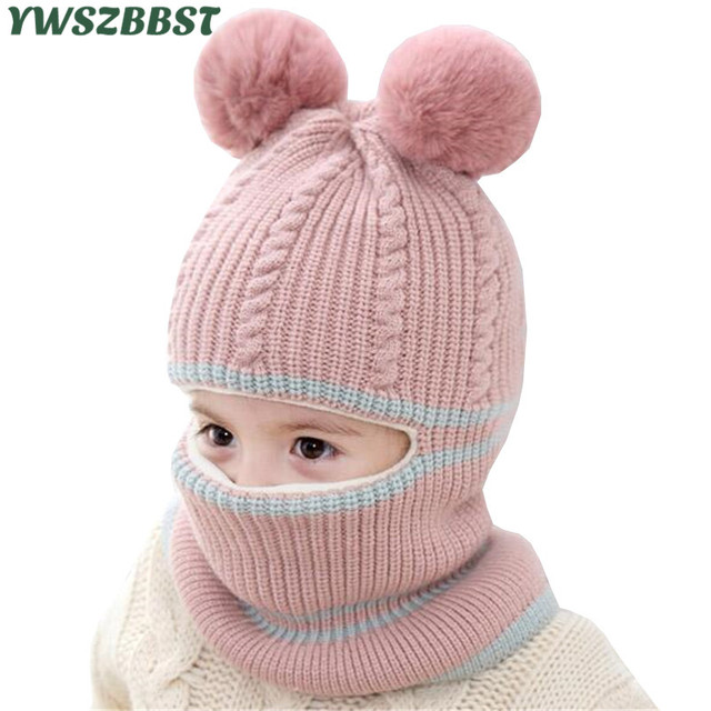 01b02a3aec5 Fashion Baby Hats with pompom balls Crochet Baby Hat with Hooded Scarf  Children Cap Collar Scarf Autumn Winter Kids Baby Cap