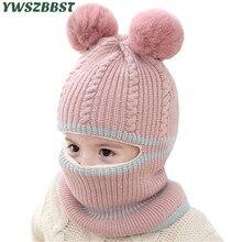 Mode Baby Hüte mit pompom bälle Häkeln Baby Hut mit Kapuze Schal Kinder Kappe Kragen Schal Herbst Winter Kinder Baby kappe