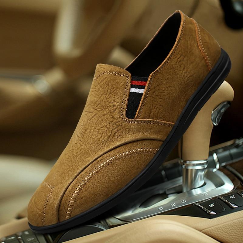 Bonne Hommes Designer À Main Chaussures En khaki La Véritable Taille Luxe Mocassins Qualité Cuir De Sneakers Décontractées Black Grande brown Pour ymN80wnvO
