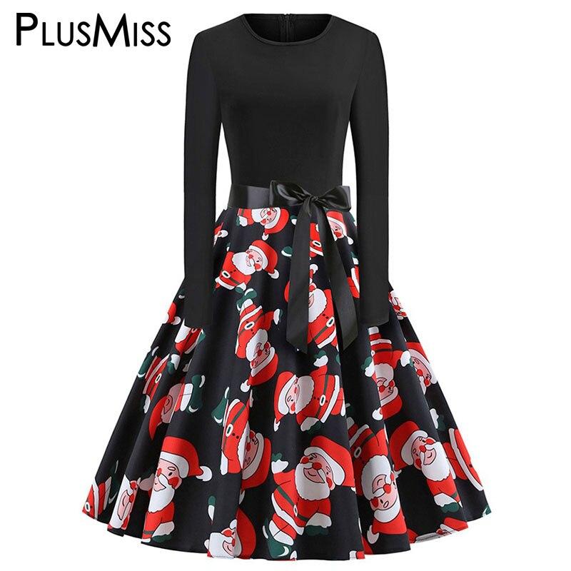 e8483994b619e PlusMiss Plus Size Christmas Santa Claus Bow Party Dresses 5XL XXXXL XXXL  XXL Big Size Women
