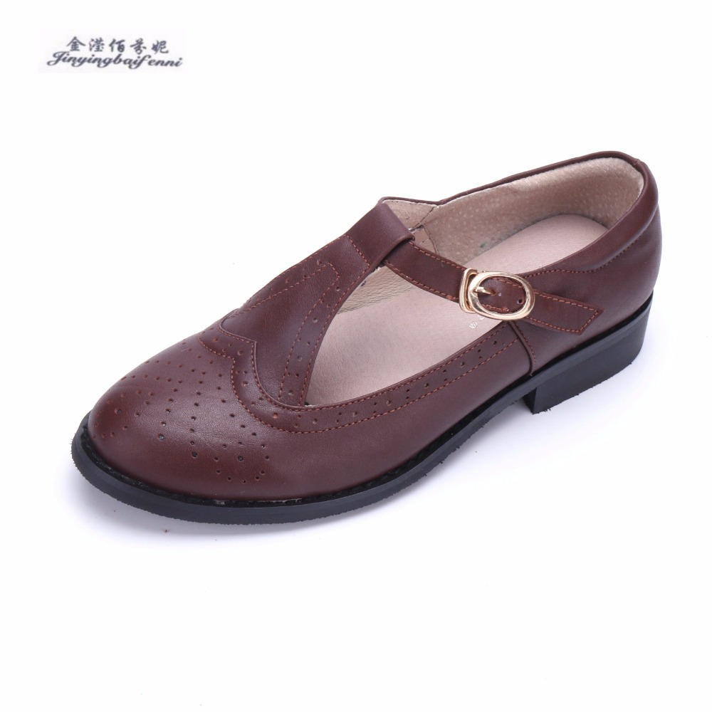 Classic Oxford Brogue Shoes women British Style Ladies Mary jane School shoes 2018 Summer Genuine leather