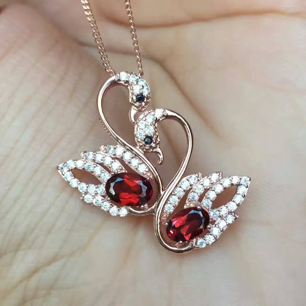 natural red garnet  pendant S925 silver Natural gemstone Pendant Necklace trendy romantic Double Swan women wedding fine jewelrynatural red garnet  pendant S925 silver Natural gemstone Pendant Necklace trendy romantic Double Swan women wedding fine jewelry