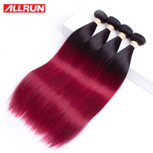 ALLRUN Ombre T1b/99J Burgundy Brazilian Straight Human Hair Weave Bundles Deal Colorful 1/3/4 Bundles Remy Two Tone Extensions(China)