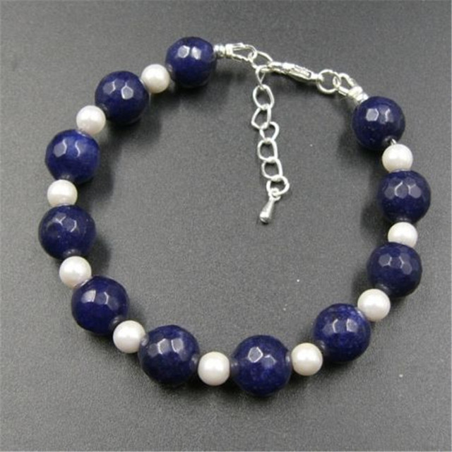 Vintage Classic Laboratory-created Stone Jewelry Beautiful Sapphires with Shell Pearl Beaded Chain Strand Bracelet 20 cm