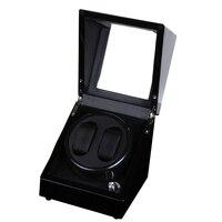2 0 Glossy Wood Balck Paint Black Leather Inside Watch Winder Box 5 Modes Automatic Winding