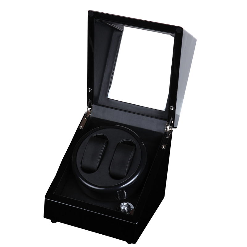 2+0 Glossy Wood Balck Paint Black Leather Inside Watch Winder Box,5 Modes Automatic Winding Watch Winder