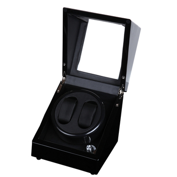 2 + 0 Legno Lucido Balck Vernice In Pelle Nera All'interno Watch Winder Box, 5 Modalità di Carica Automatica Watch Winder