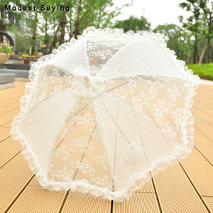 New Arrival Ivory Long Lace Cover Bridal Showers 2018 Fashion Parasol Wedding Umbrellas Accessories Decorations ombrelle mariage