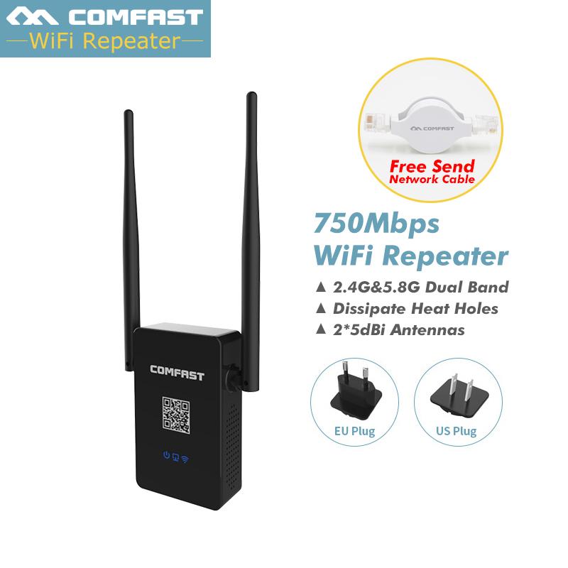 Prix pour Comfast Double Bande 750 Mbps Wifi Répéteurs Roteador 802.11AC Routeur Sans Fil 2.4 GHz + 5 GHz CF-WR750 AC Wi fi Extender Amplificateur
