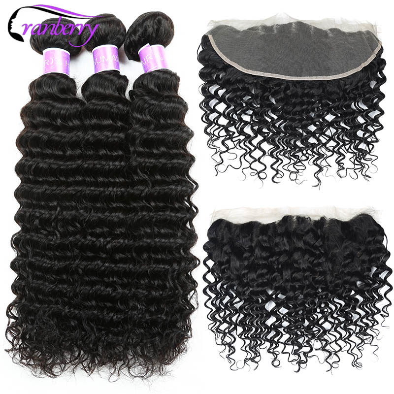 CRANBERRY Peruvian Deep Wave Bundles With Frontal Ear To Ear Lace Frontal With Bundles Non Remy Human Hair Bundles With Closure