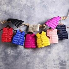 Детский жилет хлопковые жилеты для маленьких девочек, Ультралегкая куртка без рукавов осенне-зимние жилеты, одежда для маленьких мальчиков, Топ