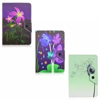 New Flower Printer Durable Universal Folio Fold PU Leather Cover Protective Sleeve Pouch Bag Case For